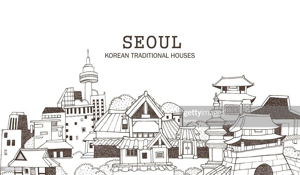 Seoul city and Korean architecture D : Vector Art