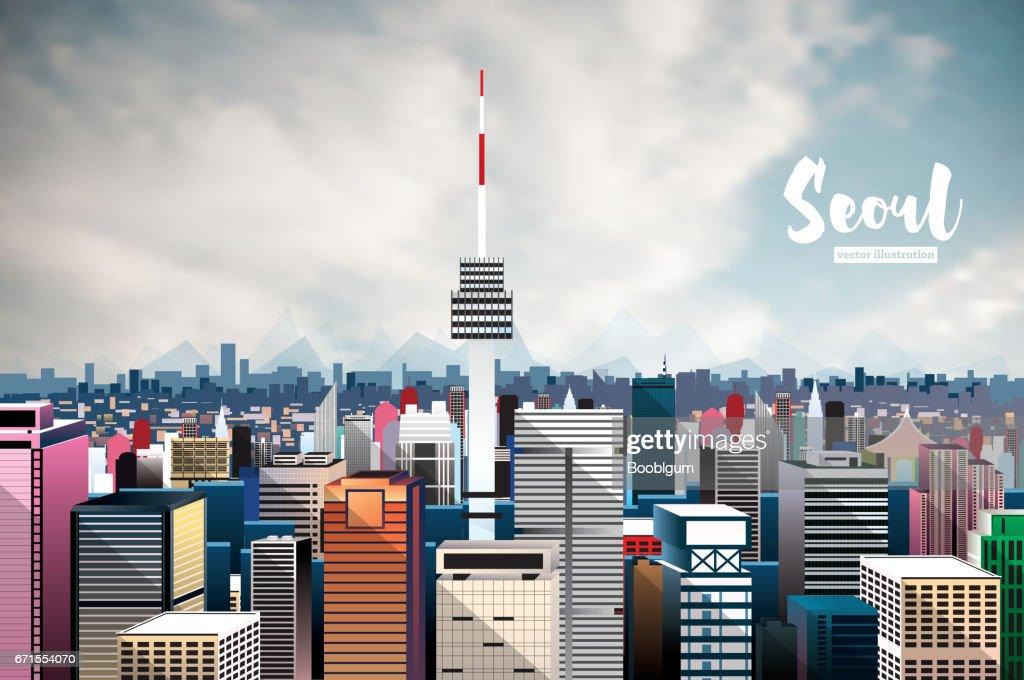 Seoul City Skyline. Aerial View.