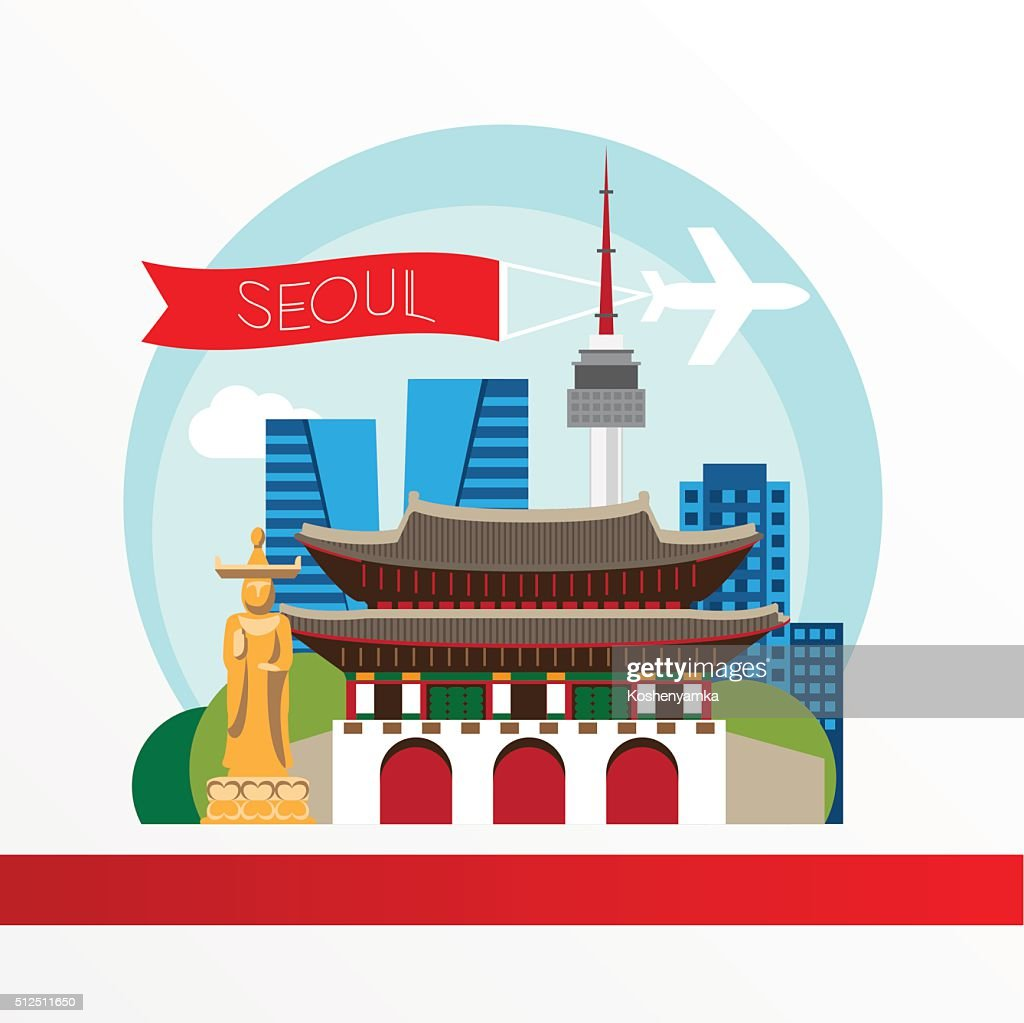 Seoul, detailed silhouette. Trendy vector illustration, flat style.