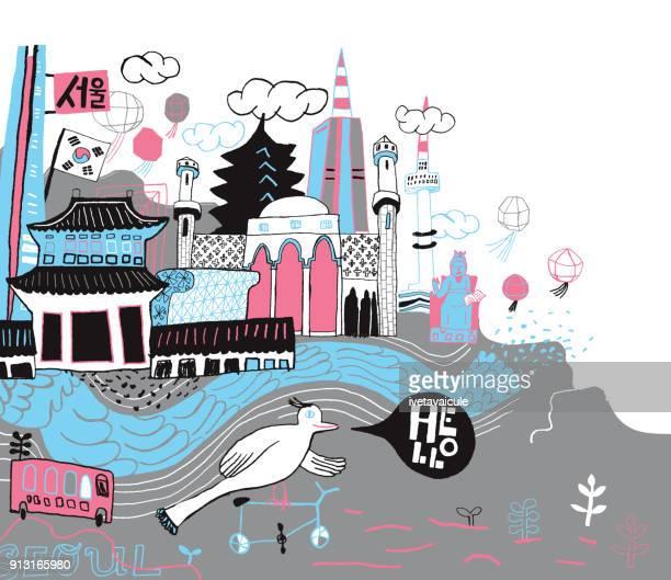 seoul in south korea hand drawn city - seoul stock illustrations, clip art, cartoons, & icons