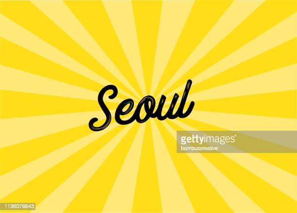 seoul lettering design - seoul stock illustrations, clip art, cartoons, & icons