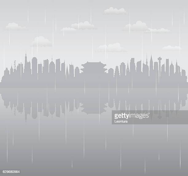 seoul rain (all buildings are complete and moveable) - rainy season stock illustrations, clip art, cartoons, & icons