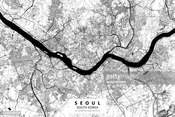 seoul, south korea vector map - south korea stock illustrations