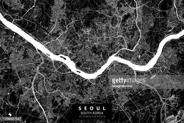 seoul, south korea vector map - seoul stock illustrations