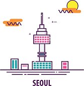 seoul tower in seoul, south korea with line art design