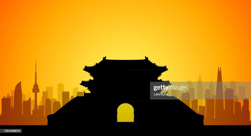 Seoul (All Buildings Are Complete and Moveable) : stock illustration