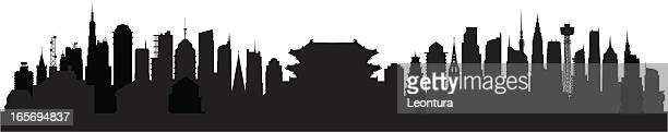 seoul (buildings are highly detailed, moveable and complete) - seoul stock illustrations, clip art, cartoons, & icons