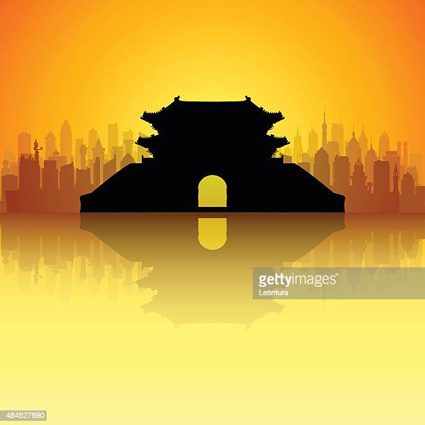 seoul's namdaemun gate (complete, detailed, moveable buildings) - seoul stock illustrations, clip art, cartoons, & icons