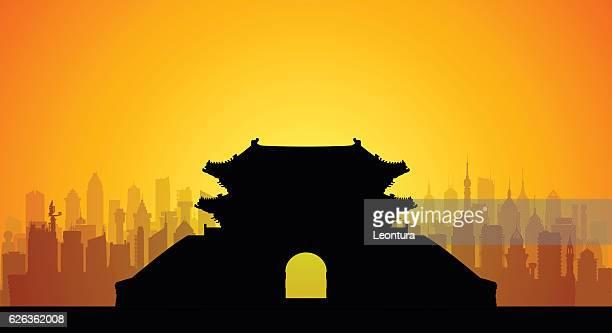 seoul's namdaemun gate (complete, detailed, moveable buildings) - south korea stock illustrations, clip art, cartoons, & icons