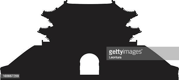 seoul's sungnyemun (namdaemun gate) - seoul stock illustrations, clip art, cartoons, & icons