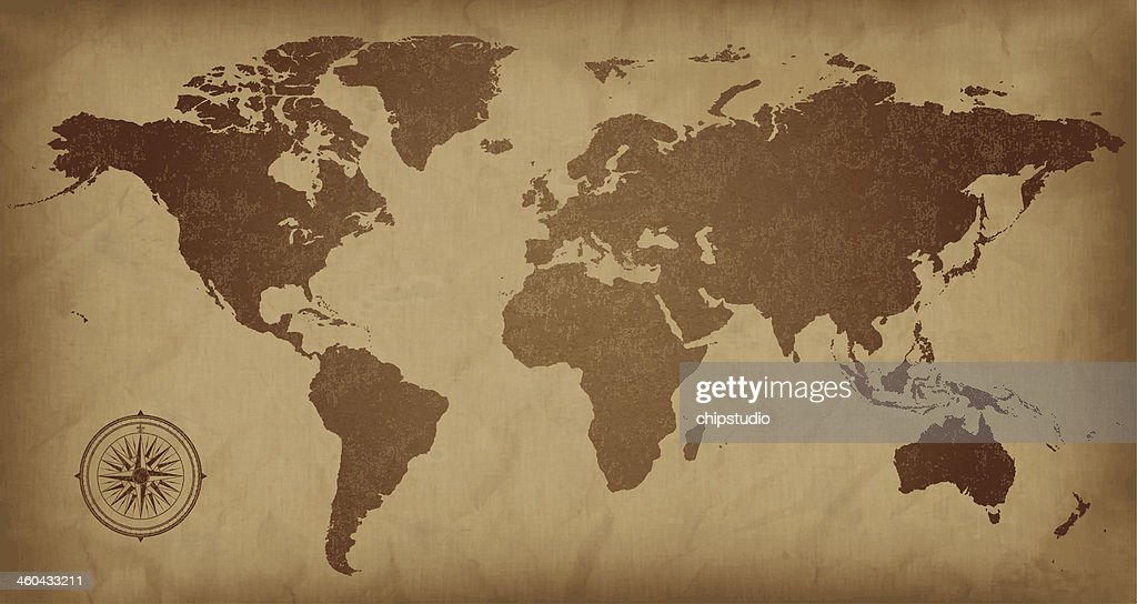 A sepia colored vintage world map, with a compass detail  : stock illustration