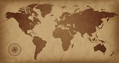 A sepia colored vintage world map, with a compass detail