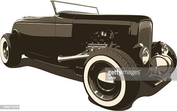 sepia hot rod - 1932 - low rider stock illustrations