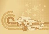 Sepia muscle car motif