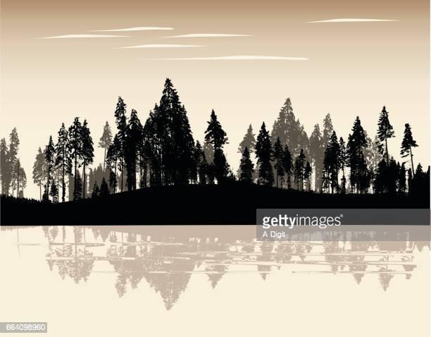 ilustraciones, imágenes clip art, dibujos animados e iconos de stock de sepia treeline - incendio forestal