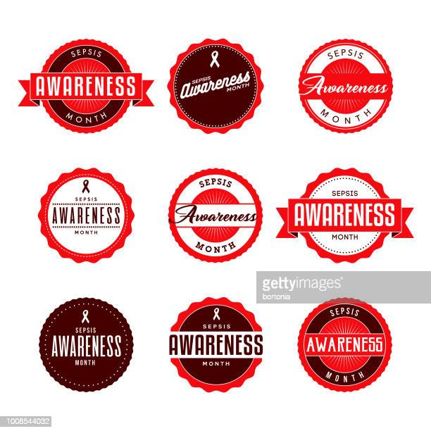 sepsis awareness month labels icon set - sepsis stock illustrations