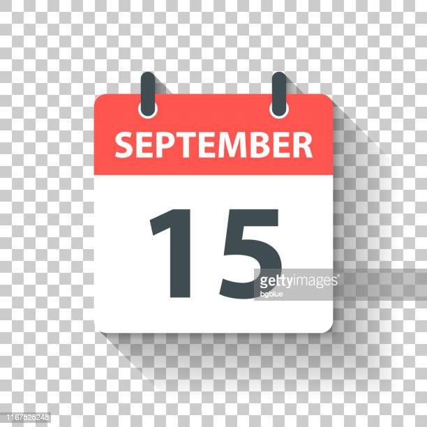 stockillustraties, clipart, cartoons en iconen met 15 september-dagelijks kalenderpictogram in platte ontwerp stijl - september