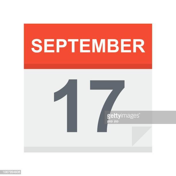 stockillustraties, clipart, cartoons en iconen met 17 september - pictogram van de kalender - september