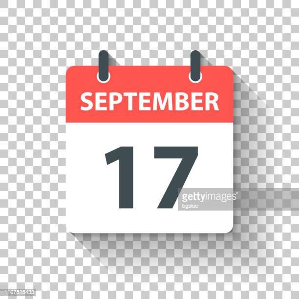 stockillustraties, clipart, cartoons en iconen met 17 september-dagelijks kalenderpictogram in platte ontwerp stijl - september