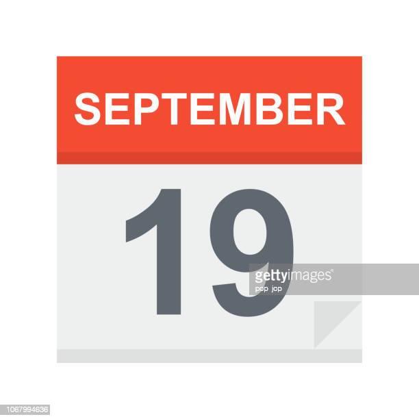 stockillustraties, clipart, cartoons en iconen met 19 september - pictogram van de kalender - september