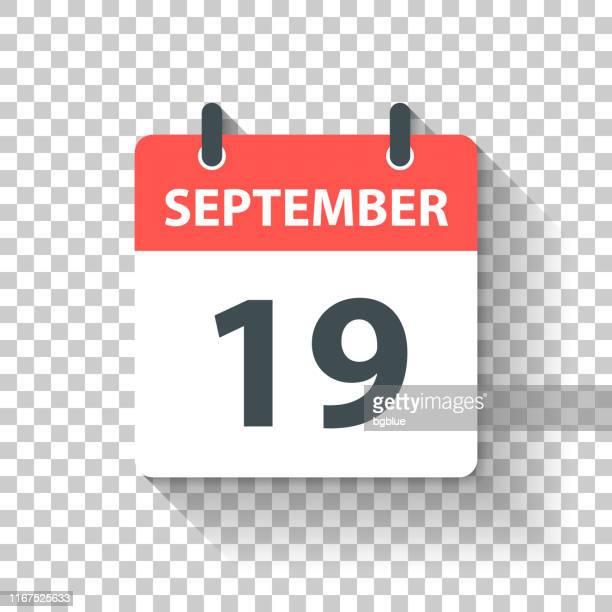 stockillustraties, clipart, cartoons en iconen met 19 september-dagelijks kalenderpictogram in platte ontwerp stijl - september