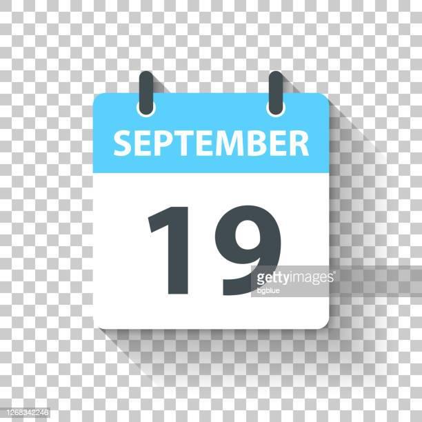 stockillustraties, clipart, cartoons en iconen met 19 september - dagelijks kalenderpictogram in platte ontwerpstijl - september