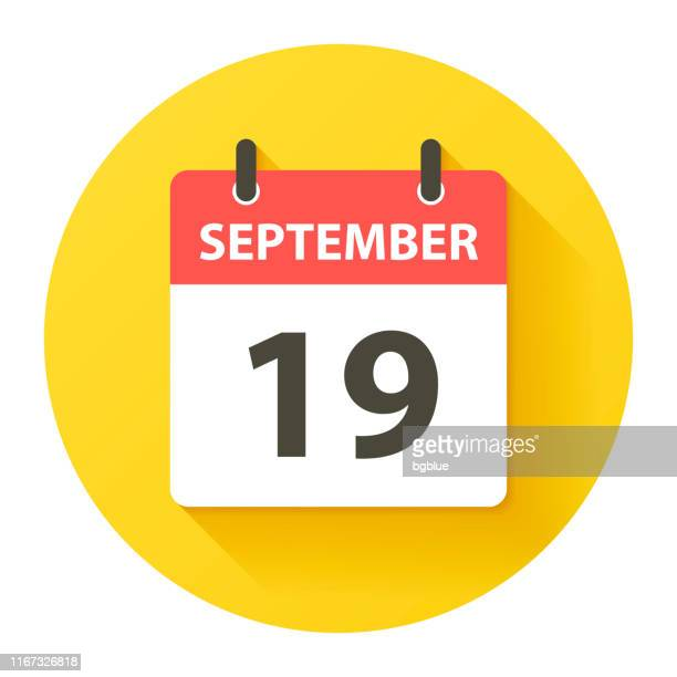 stockillustraties, clipart, cartoons en iconen met 19 september-ronde dagelijkse kalenderpictogram in platte ontwerp stijl - september