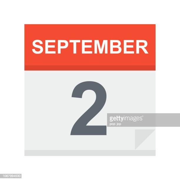 ilustrações de stock, clip art, desenhos animados e ícones de september 2 - calendar icon - número 2