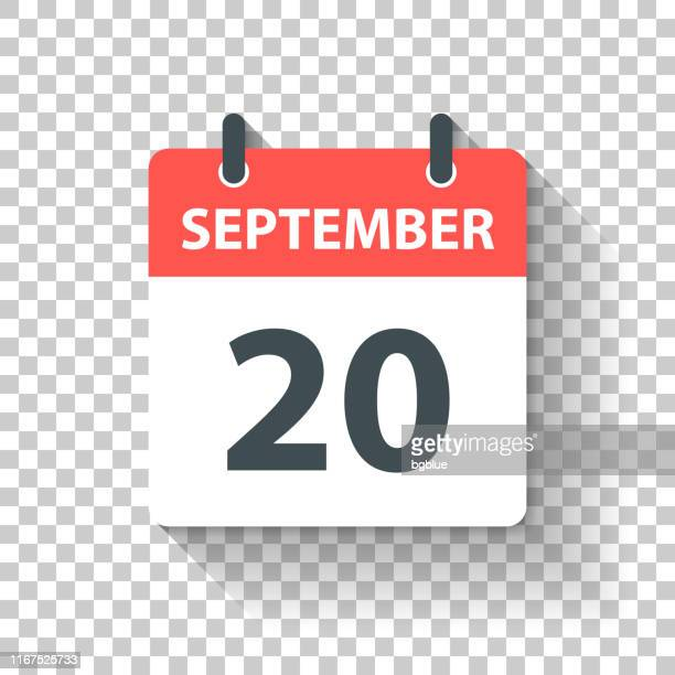 20. september - tageskalender-ikone im flachen design-stil - september stock-grafiken, -clipart, -cartoons und -symbole