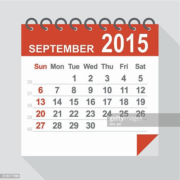 ilustraciones, imágenes clip art, dibujos animados e iconos de stock de septiembre de 2015 calendario-ilustración - 2015