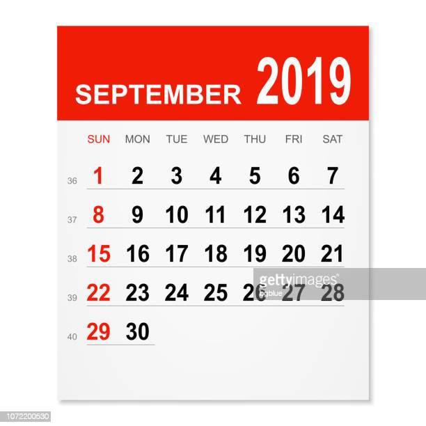 september 2019 calendar - september stock illustrations