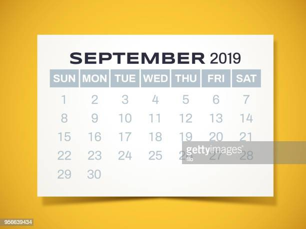 kalender september 2019 - september stock-grafiken, -clipart, -cartoons und -symbole