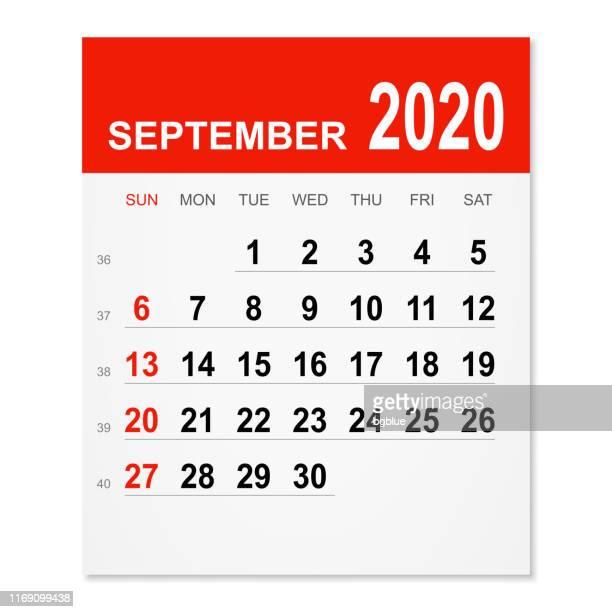 september 2020 calendar - september stock illustrations