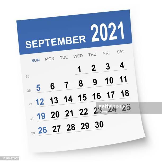 september 2021 calendar - september stock illustrations