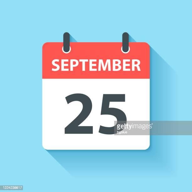stockillustraties, clipart, cartoons en iconen met 25 september - dagelijks kalenderpictogram in platte ontwerpstijl - september