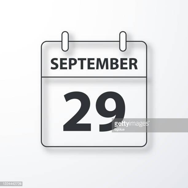 29. september - tageskalender - schwarzer umriss mit schatten auf weißem hintergrund - september stock-grafiken, -clipart, -cartoons und -symbole