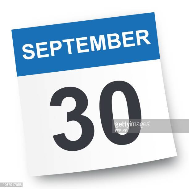 30. september - kalender-symbol - september stock-grafiken, -clipart, -cartoons und -symbole