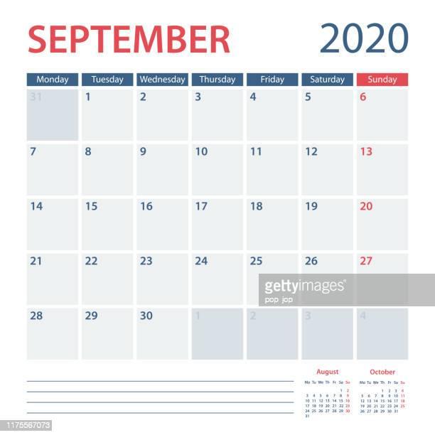 2020 september calendar planner vector template. week starts monday - 2019 2020 calendar stock illustrations