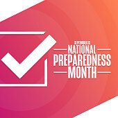 September is National Preparedness Month. Holiday concept. Template for background, banner, card, poster with text inscription. Vector EPS10 illustration.