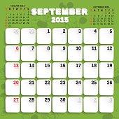 September. Vector Month Calendar 2015.