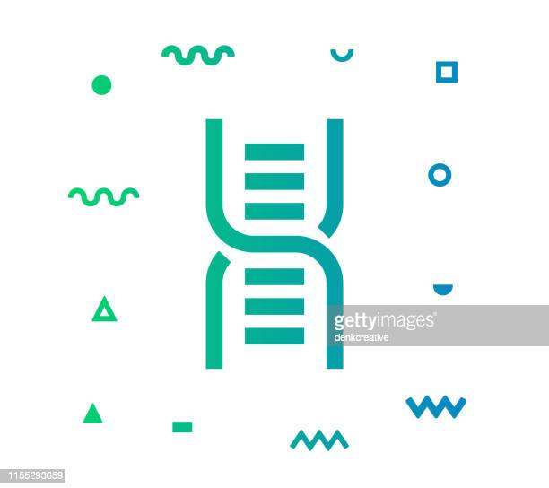 dna sequence line style icon design - chromosome stock illustrations