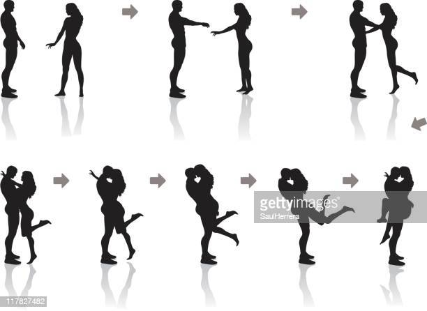 sequence of a hug. passionate kiss - sex and reproduction stock illustrations, clip art, cartoons, & icons