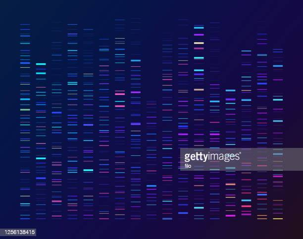dna sequencing data processing genetic genomic analysis - data stock illustrations