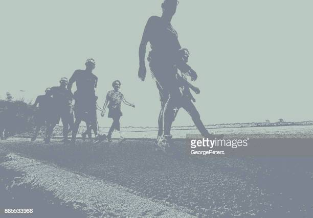 sequential series silhouettes of people fitness walking on footpath around lake calhoun, minneapolis - digital composite stock illustrations