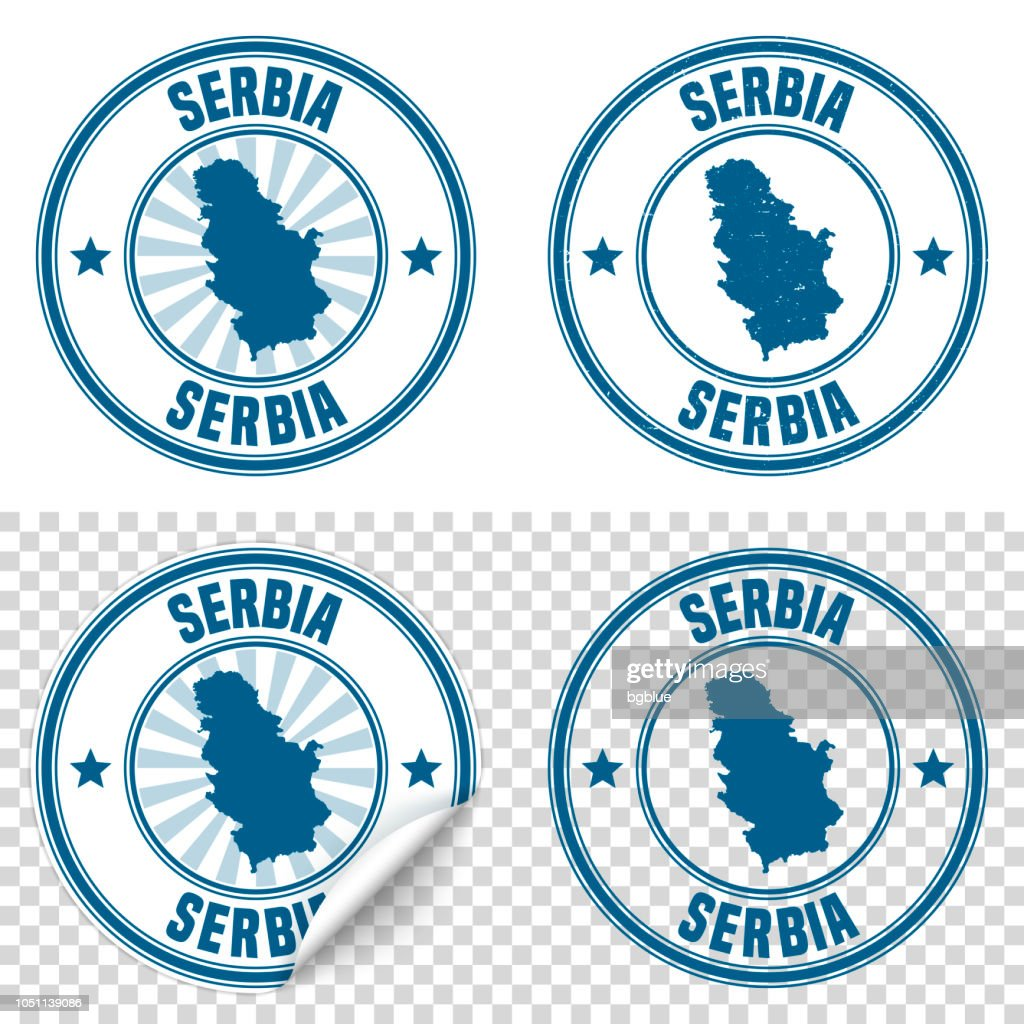 Serbia - Blue sticker and stamp with name and map : stock illustration