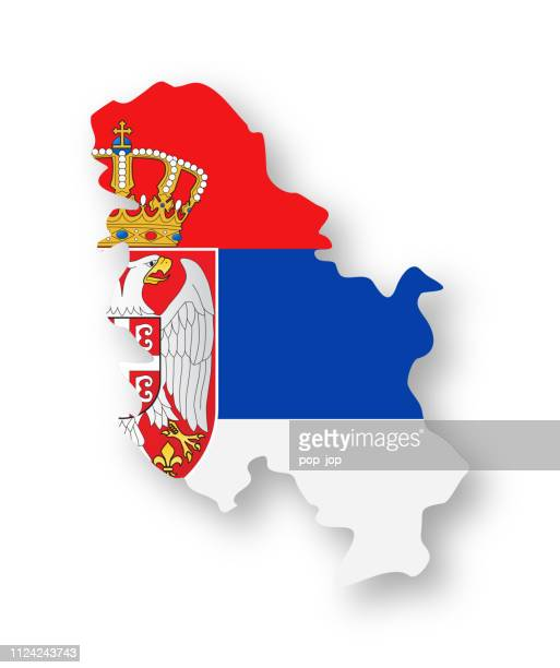 Serbia - Contour Country Flag Vector Flat Icon