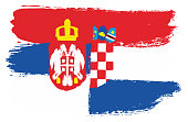 Serbia Flag & Croatia Flag Vector Hand Painted with Rounded Brush