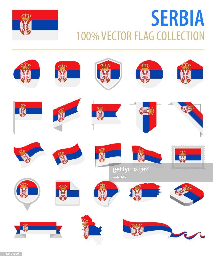 Serbia - Flag Icon Flat Vector Set : Stock Illustration