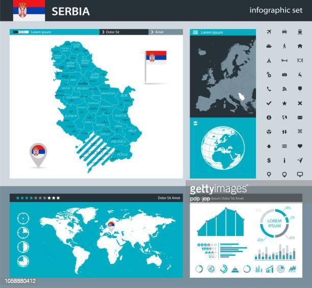 ilustrações, clipart, desenhos animados e ícones de 35 - sérvia - q10 cinza murena infográfico - sérvia