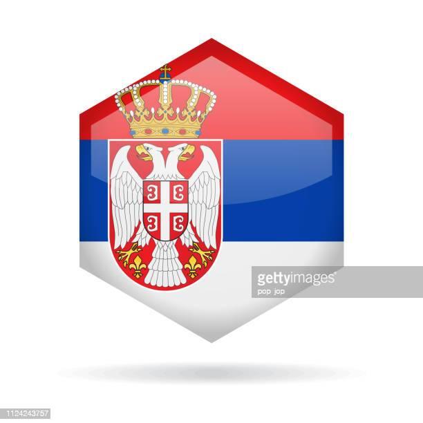 Serbia - Hexagon Flag Vector Glossy Icon